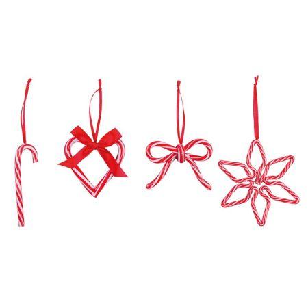 Σετ 4τχ Χριστουγεννιάτικα στολίδια ζαχαρωτά - Κόκκινο - Λευκό 7-12cm