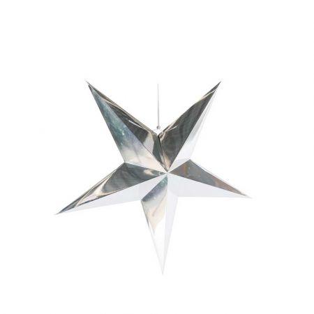 Χριστουγεννιάτικο αστέρι κρεμαστό αναδιπλούμενο - Ασημί 40cm