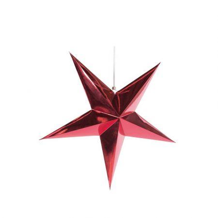 Χριστουγεννιάτικο αστέρι κρεμαστό αναδιπλούμενο - Κόκκινο 40cm