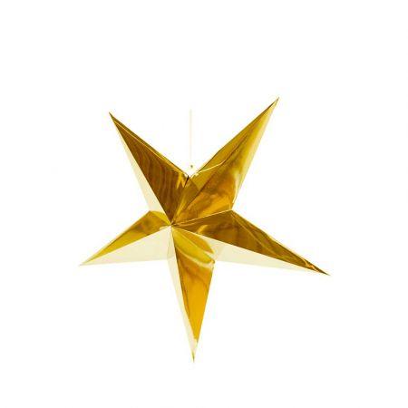 Χριστουγεννιάτικο αστέρι κρεμαστό αναδιπλούμενο - Χρυσό 40cm