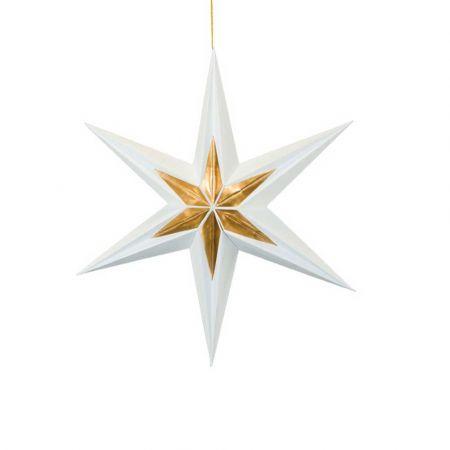 Χριστουγεννιάτικο αστέρι κρεμαστό αναδιπλούμενο - Λευκό - Χρυσό 40cm