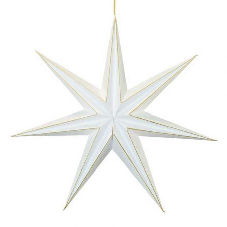 Χριστουγεννιάτικο αστέρι κρεμαστό αναδιπλούμενο - Λευκό - Χρυσό 60cm