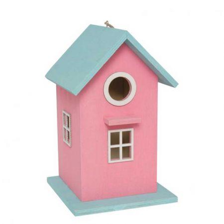 Διακοσμητικό ξύλινο σπιτάκι για πουλιά Ροζ - Γαλάζιο 16x16x26cm