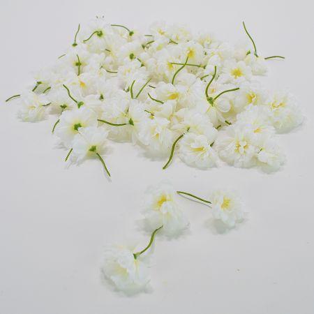 Σετ 72τχ μικρά διακοσμητικά άνθη κερασιάς κατασκευασμένα από ύφασμα.