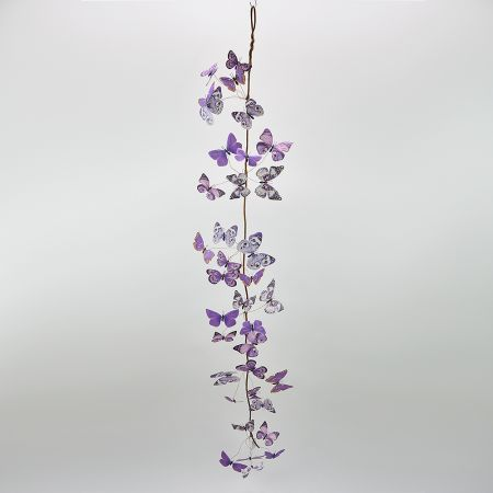 Διακοσμητική γιρλάντα με Μωβ πεταλούδες 150cm