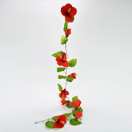 Ανθισμένη γιρλάντα με Κόκκινα άνθη Ιβίσκου 180cm