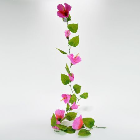 Ανθισμένη γιρλάντα με Ροζ άνθη Ιβίσκου 180cm
