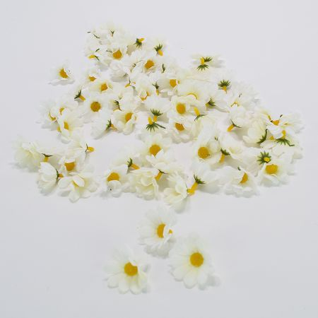 Σετ 72τχ Διακοσμητικά άνθη μαργαρίτας Λευκά 5cm