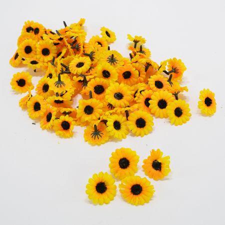 Σετ 100τχ Διακοσμητικά άνθη Ηλίανθου Κίτρινα 3cm