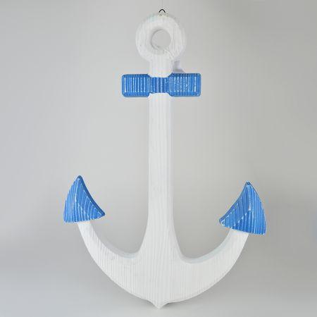 Διακοσμητική ξύλινη άγκυρα μονής όψης Λευκή - Μπλε 60x42cm