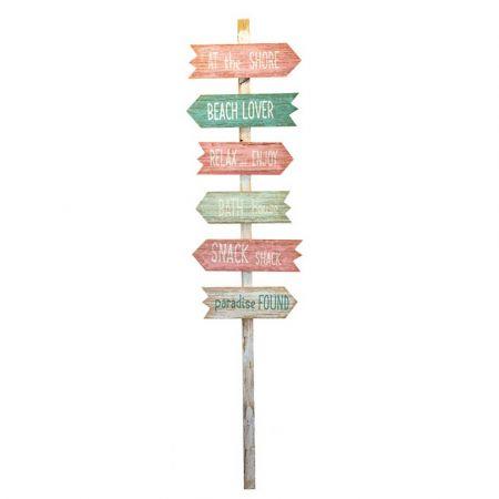 Διακοσμητική ξύλινη ταμπέλα - πινακίδα με 5 βέλη κατεύθυνσης 160x40cm
