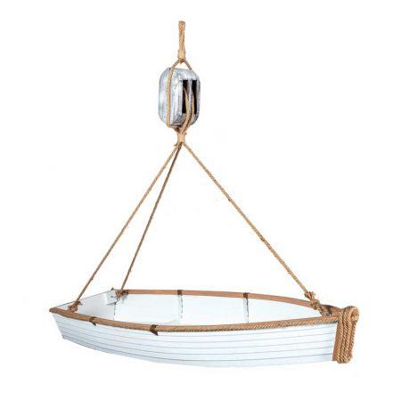 Διακοσμητική βάρκα με σχοινί και τροχαλία 120cm