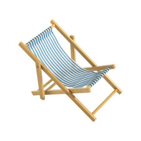 Διακοσμητική καρέκλα παραλίας mini Μπλε - Λευκό 18x38cm