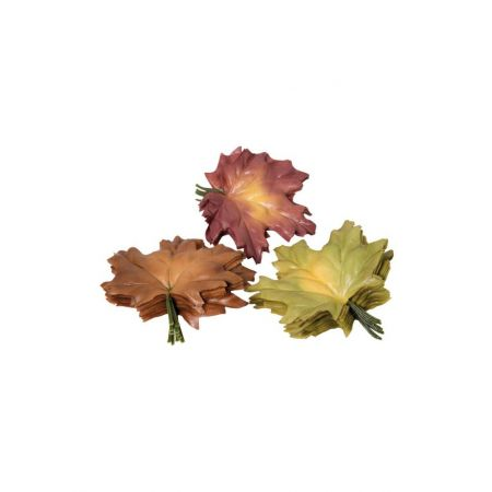 Σετ 36τχ Διακοσμητικά φθινοπωρινά φύλλα Σφενδάμου Πράσινο - Καφέ 13cm
