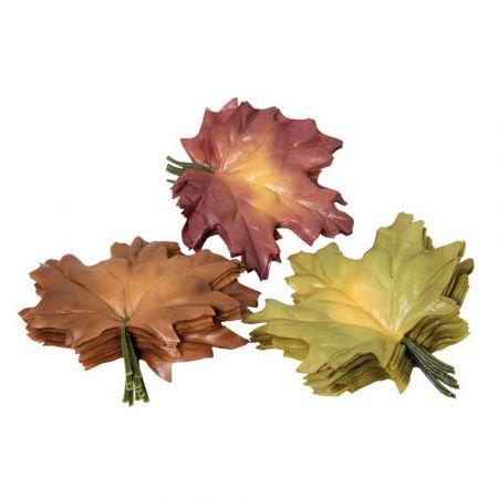 Σετ 36τχ Διακοσμητικά φύλλα Σφενδάμου Πράσινο - Καφέ 13cm