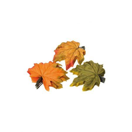 Σετ 36τχ Διακοσμητικά φθινοπωρινά φύλλα Σφενδάμου Πράσινο - Πορτοκαλί 13cm