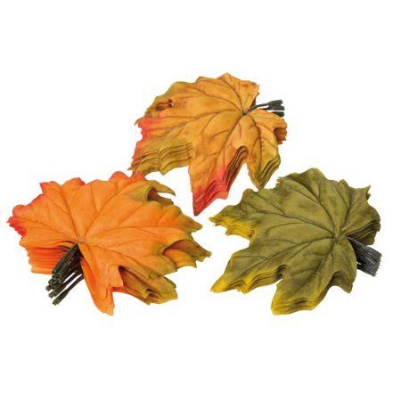 Σετ 36τχ Διακοσμητικά φύλλα Σφενδάμου Πράσινο - Πορτοκαλί 13cm