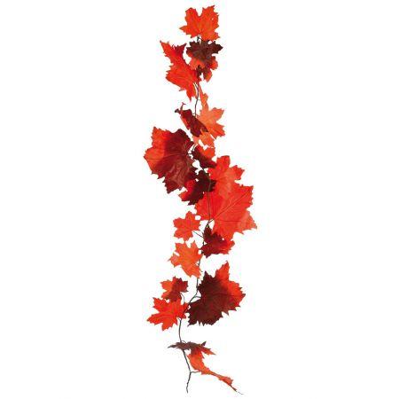 Διακοσμητική γιρλάντα με φύλλα Σφενδάμου Πορτοκαλί - Καφέ 180cm