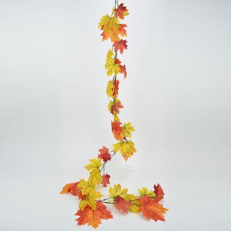 Διακοσμητική γιρλάντα με φύλλα Σφενδάμου Κίτρινο - Πορτοκαλί 180cm
