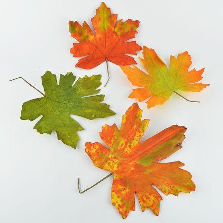 Σετ 4τχ XL φθινοπωρινά φύλλα Σφένδαμου Πράσινο - Κόκκινο - Πορτοκαλί 36x30cm
