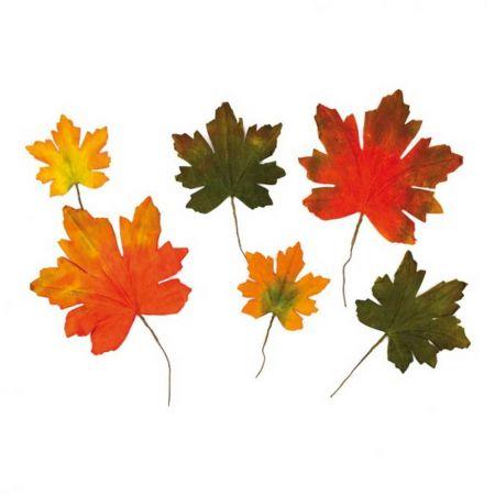 Σετ 6τχ Φθινοπωρινά φύλλα Σφένδαμου Κόκκινο - Πορτοκαλί - Πράσινο 26cm, 21cm, 36cm