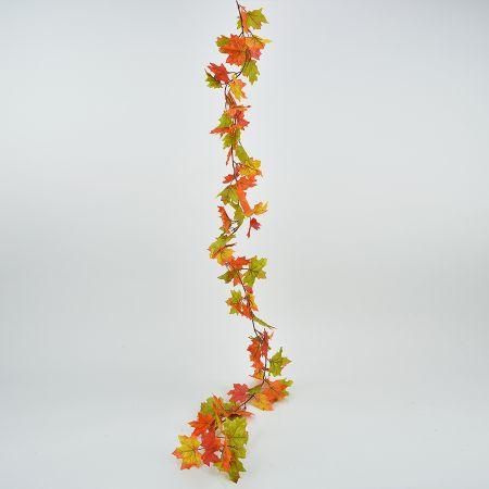Διακοσμητική γιρλάντα με φύλλα Σφένδαμου Πράσινο - Πορτοκαλί 180cm