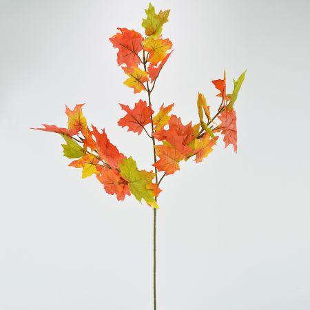 Τεχνητό κλαδί με φύλλα σφενδάμου Πράσινο - Πορτοκαλί 66cm