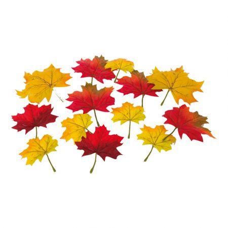 Σετ 36τχ Φθινοπωρινά φύλλα Σφένδαμου - Κίτρινο - Κόκκινο 13cm