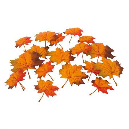Σετ 36τχ Φθινοπωρινά φύλλα Σφένδαμου - Πορτοκαλί 13cm