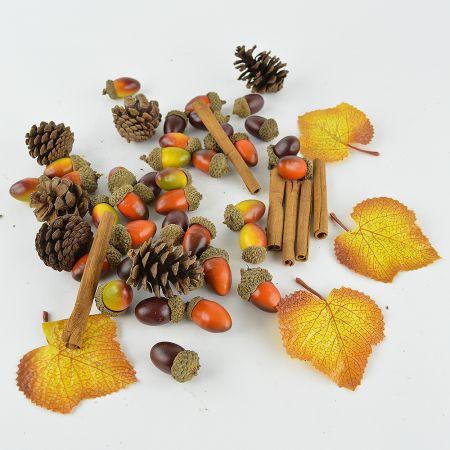 Σετ με Φθινοπωρινά φύλλα - Βελανίδια - Κουκουνάρια