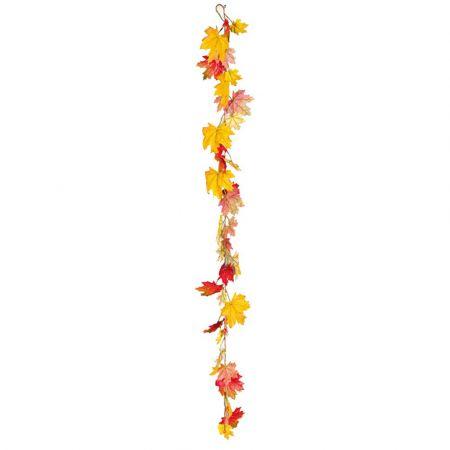 Διακοσμητική γιρλάντα με φύλλα Σφενδάμου Καφέ - Πορτοκαλί 180cm