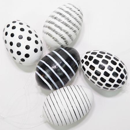 Σετ 5τχ Διακοσμητικά Πασχαλινά αυγά Μαύρο - Λευκό 10cm