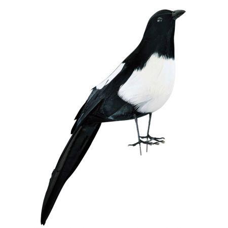 Διακοσμητικό πουλάκι Καρακάξα, Μαύρο - Λευκό 32cm