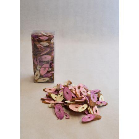 Σετ 15gr Διακοσμητικά ξυλάκια - ροδέλες Ροζ 3-6cm