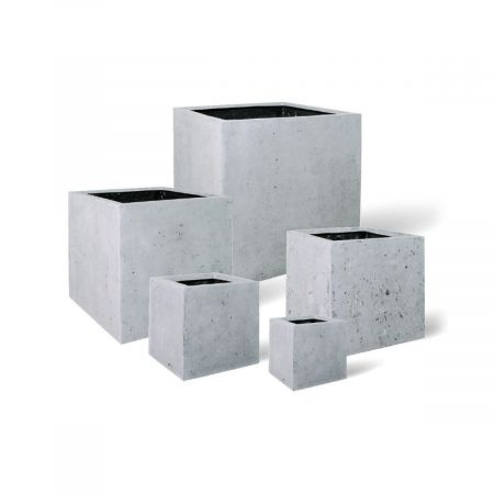 Γλάστρα POLYSTONE SQUARE με όψη πέτρας Γκρι