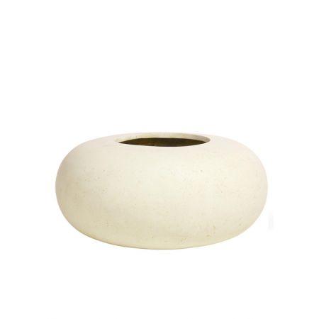 Γλάστρα DONUT με όψη πέτρας Κρεμ 60x26cm