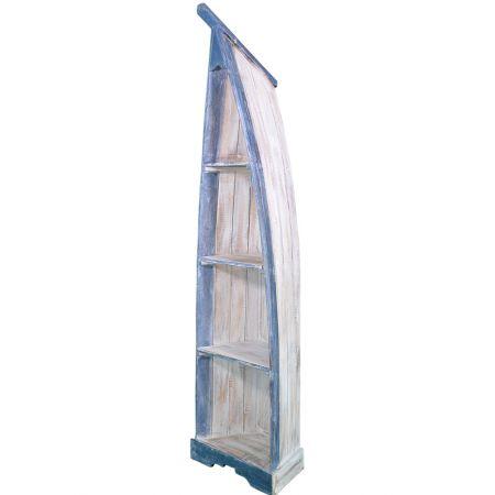 Διακοσμητική βάρκα-ραφιέρα Μπλε-Λευκή 190cm