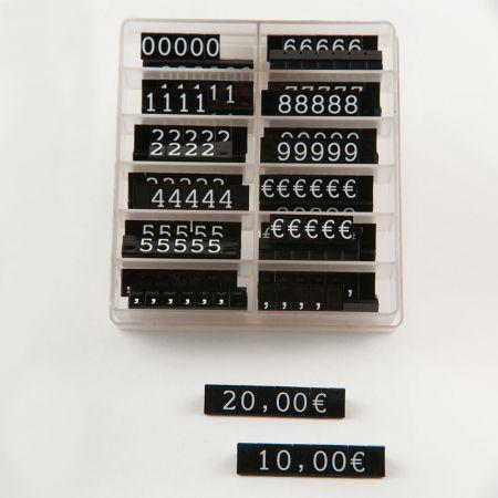 Σετ 252τχ τιμές βιτρίνας 1cm Μαύρο - Λευκά γράμματα