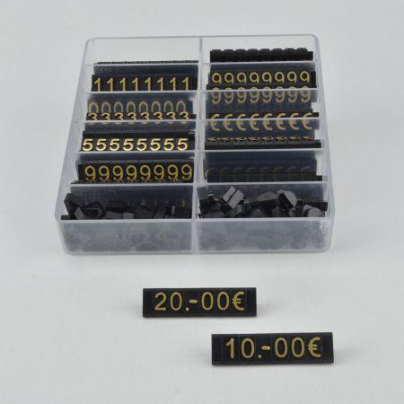 Σετ 400τχ Τιμές βιτρίνας - Ανάγλυφες 1cm Μαύρο - Χρυσά γράμματα