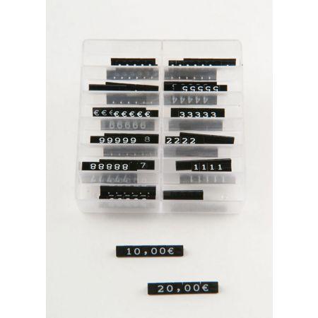 Σετ 280τχ (40 μπάρες) Τιμές βιτρίνας mini 0,6cm Μαύρο - Λευκά γράμματα