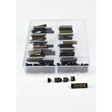 Σετ 400τχ κασετίνα με Τιμές βιτρίνας mini με ανάγλυφα γράμματα 0,6cm Μαύρο - Χρυσά γράμματα