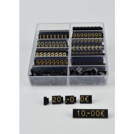 Σετ 400τχ κασετίνα με Τιμές βιτρίνας με ανάγλυφα γράμματα 1cm Μαύρο - χρυσά γράμματα
