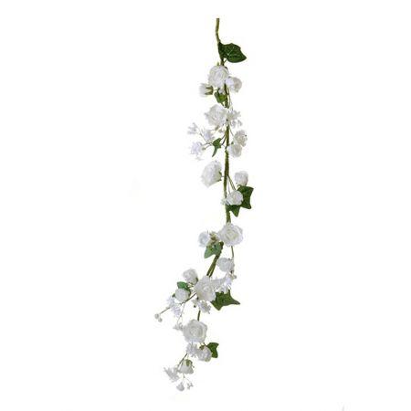 Διακοσμητική γιρλάντα με Λευκά τριαντάφυλλα 100cm