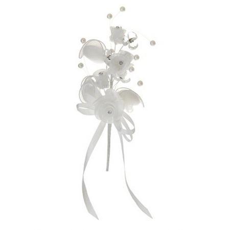 Διακοσμητική μποτουνιέρα με τριαντάφυλλα και πέρλες 18cm
