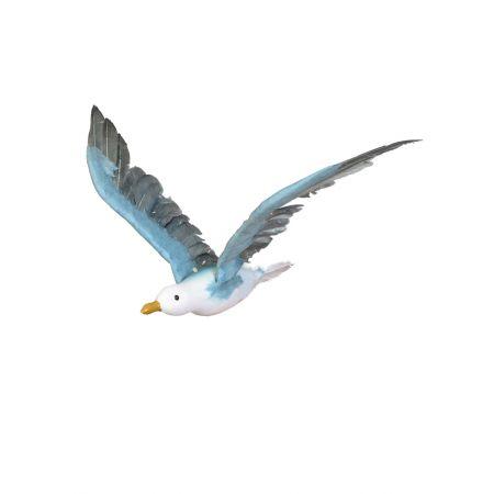 Διακοσμητικός γλάρος με ανοιγμένα φτερά πετάει Λευκό - Γαλάζιο 60cm