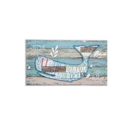 Διακοσμητικό τοίχου με Φάλαινα σε ξύλινη πλάτη 80x3,5x40cm