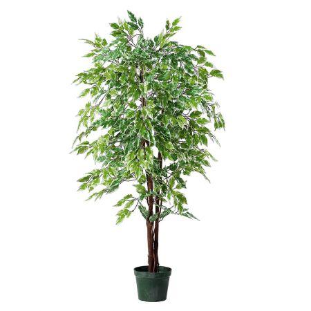 Διακοσμητικό τεχνητό δέντρο φίκος - benjamini σε γλάστρα κατασκευασμένο από φυσικό και συνθετικό υλικό.