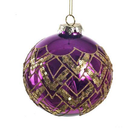 Χριστουγεννιάτικη μπάλα γυάλινη Μωβ 10cm