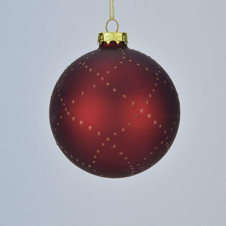 Χριστουγεννιάτικη μπάλα γυάλινη Μπορντό 9cm