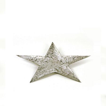Δίσκος - βάση αλουμινίου αστέρι, σφυρήλατη Ασημί 27cm
